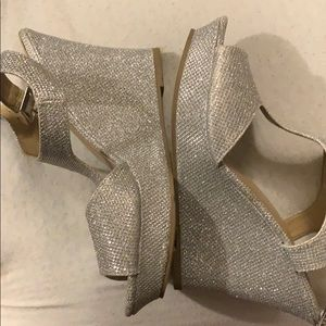 Rampage silver heels worn once for pageant
